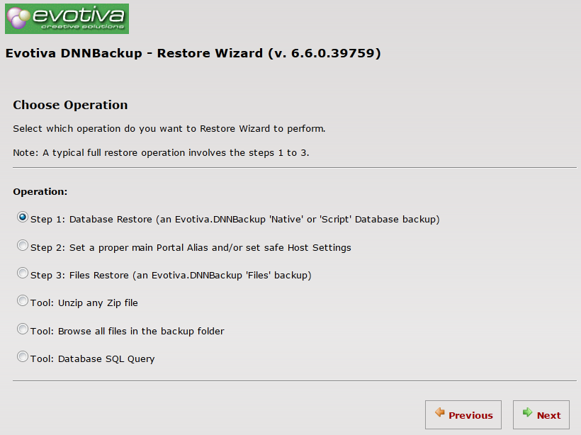 Evotiva's DNN Backup screen capture