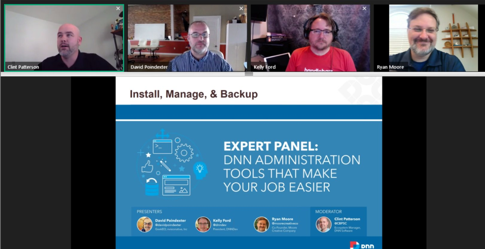 DNN Administration Tools Webinar Screen Capture
