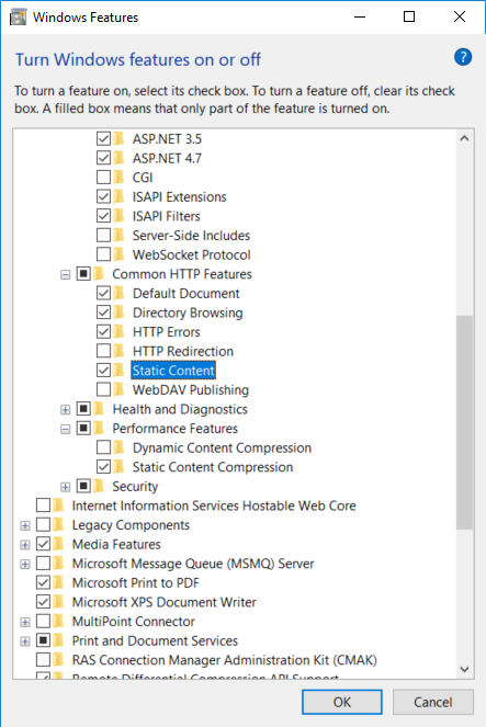 Screen Capture - Turning on static content in IIS