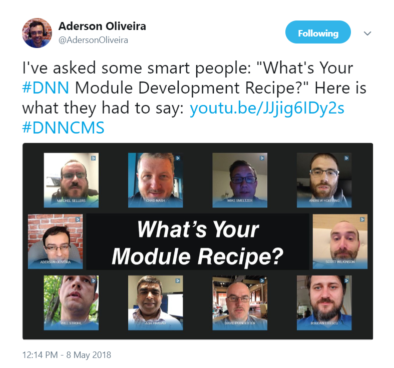 Aderson Oliveira has been posting tweets gathering short video responses lately, this one is about DNN module development patterns.