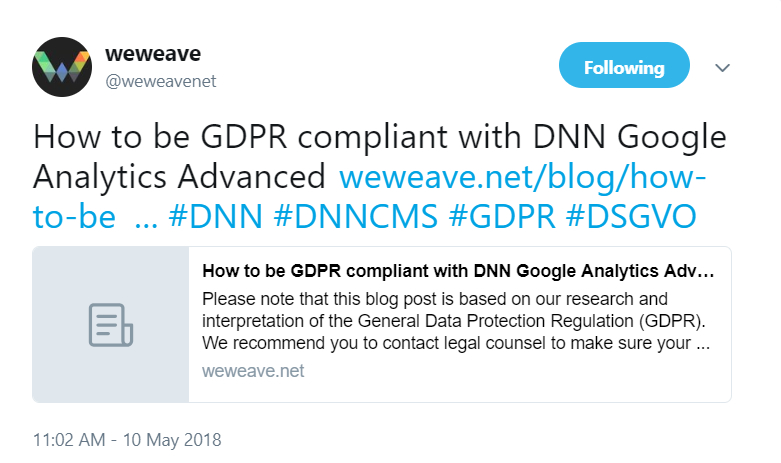 WeWeave tweeted about GDPR Compliance and Google Analytics