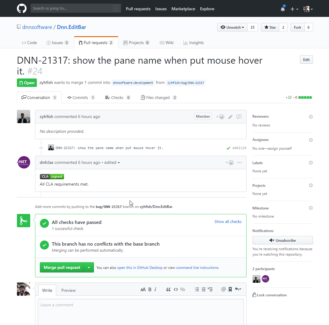 Screenshot of GitHub Showing the CLA Process has been completed