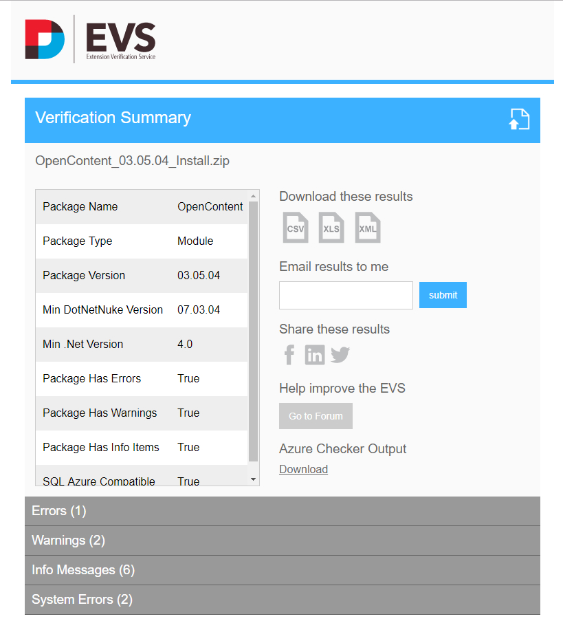 EVS screenshot