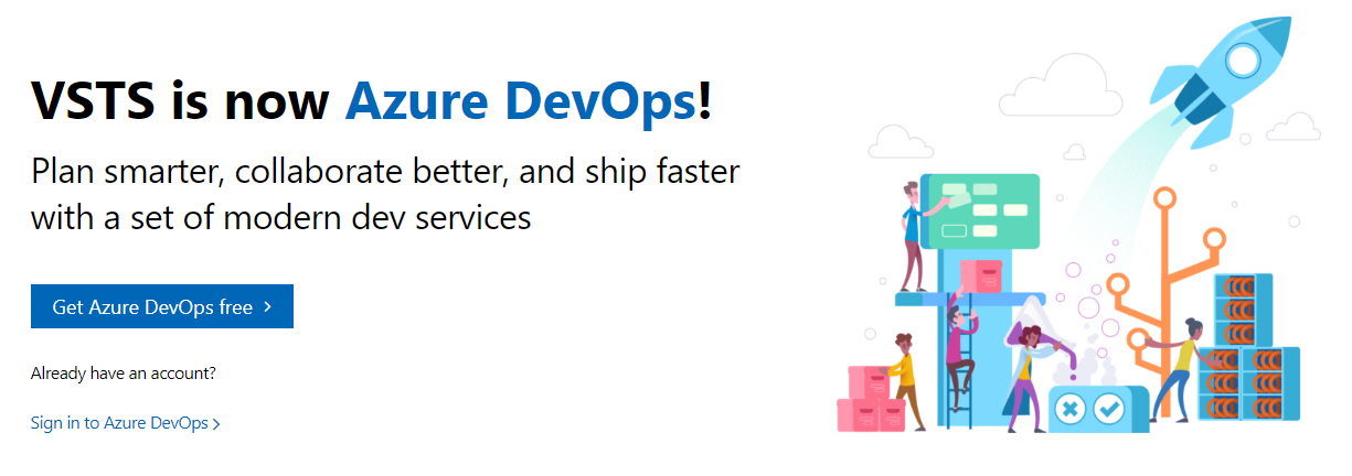 Screenshot of the new Azure DevOps website banner