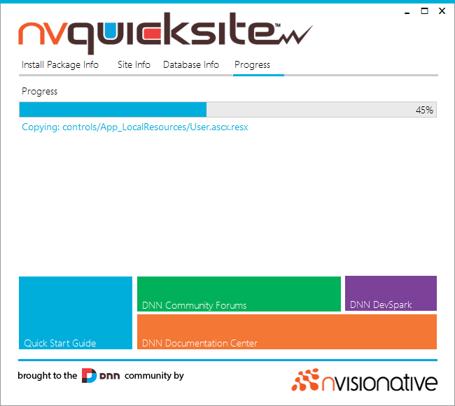 nvquicksite install screen capture