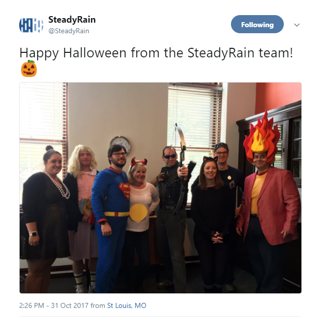 The SteadyRain team on Twitter at Halloween with their costumes