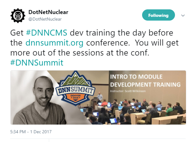 Scott Wilkinson's Tweet about DNN Summit Training