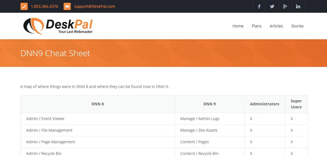 Screenshot of DeskPal's DNN 9 Cheat Sheet