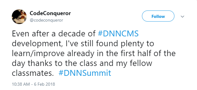 CodeConqueror enjoyed DNN Summit Training