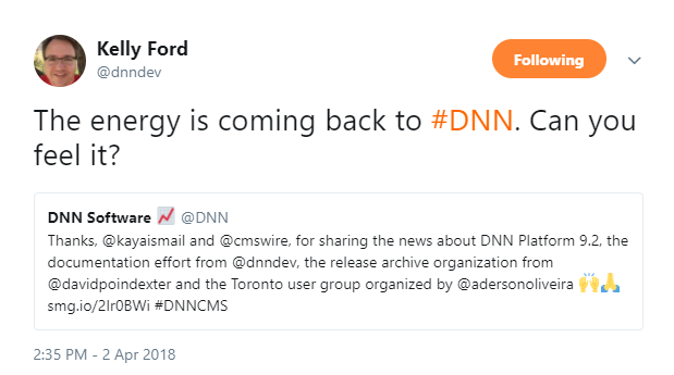 Kelly Ford tweeted about the energy that is returning to the DNN Community.