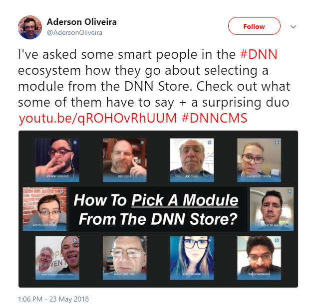Aderson Oliveira tweeted about his video interviews regarding how ecosystem members select modules from the DNN Store.