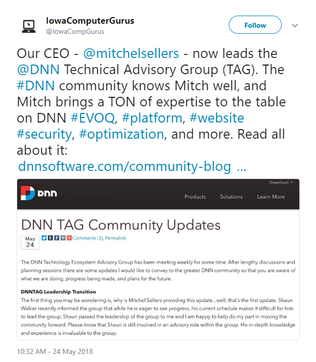 Iowa Computer Gurus tweeted about their CEO, Mitchel Sellers, and his leadership of the DNN TAG group