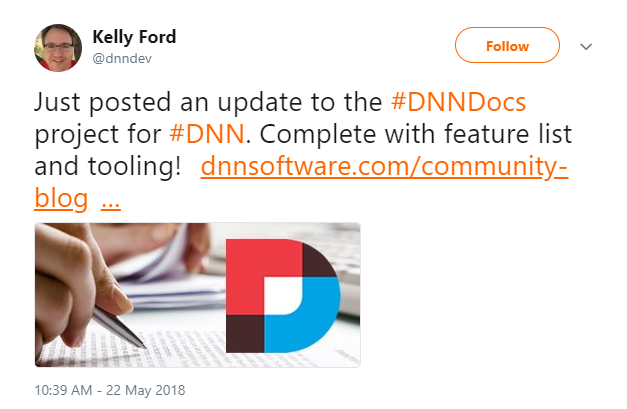Kelly Ford tweeted providing updates to the status of the DNN Docs Group.