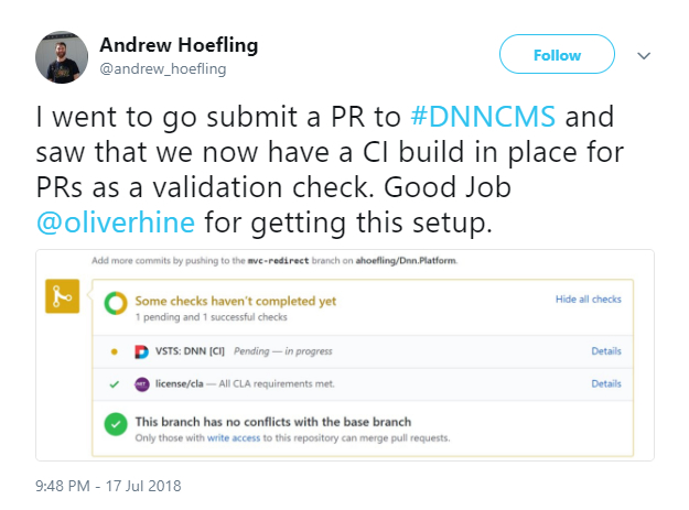 Andrew Hoefling tweeted about the DNNTAG's work on VSTS integration
