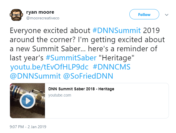 Moore Creative tweet about DNN Summit lightsabers