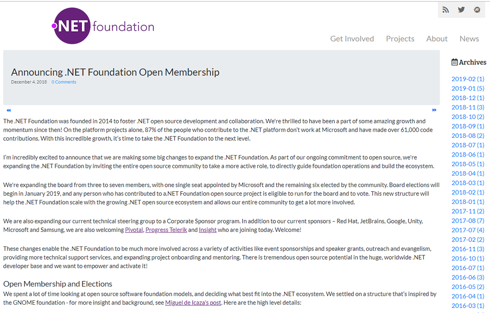 .NET Foundation blog screenshot