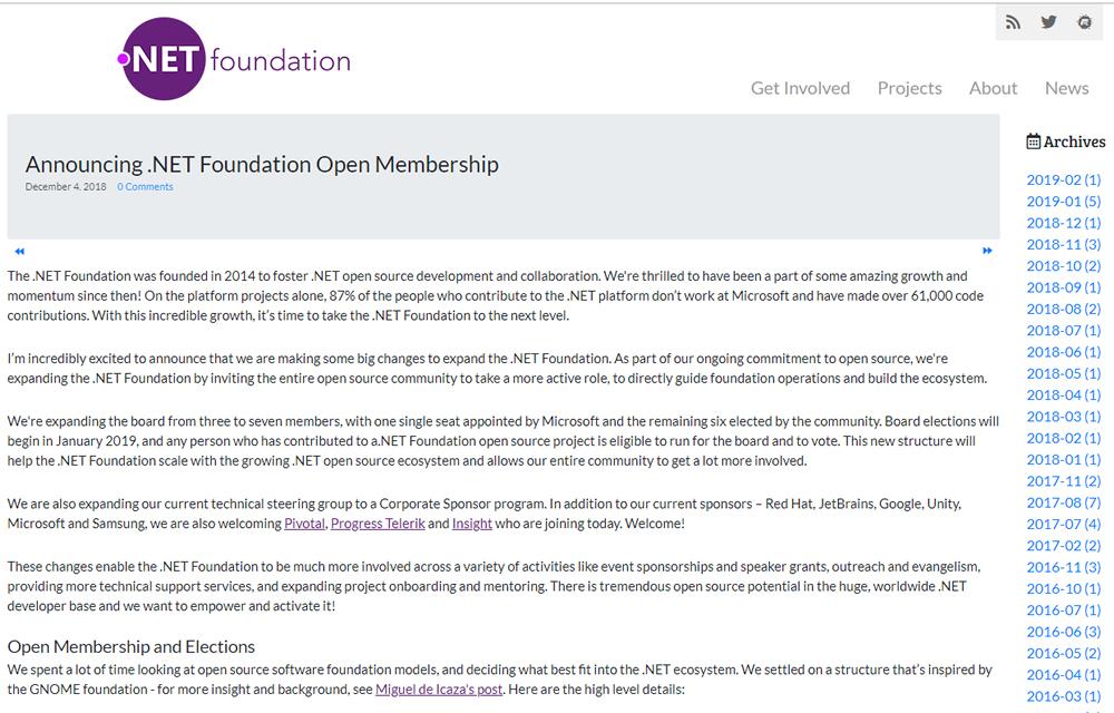 .NET Foundation blog screenshot