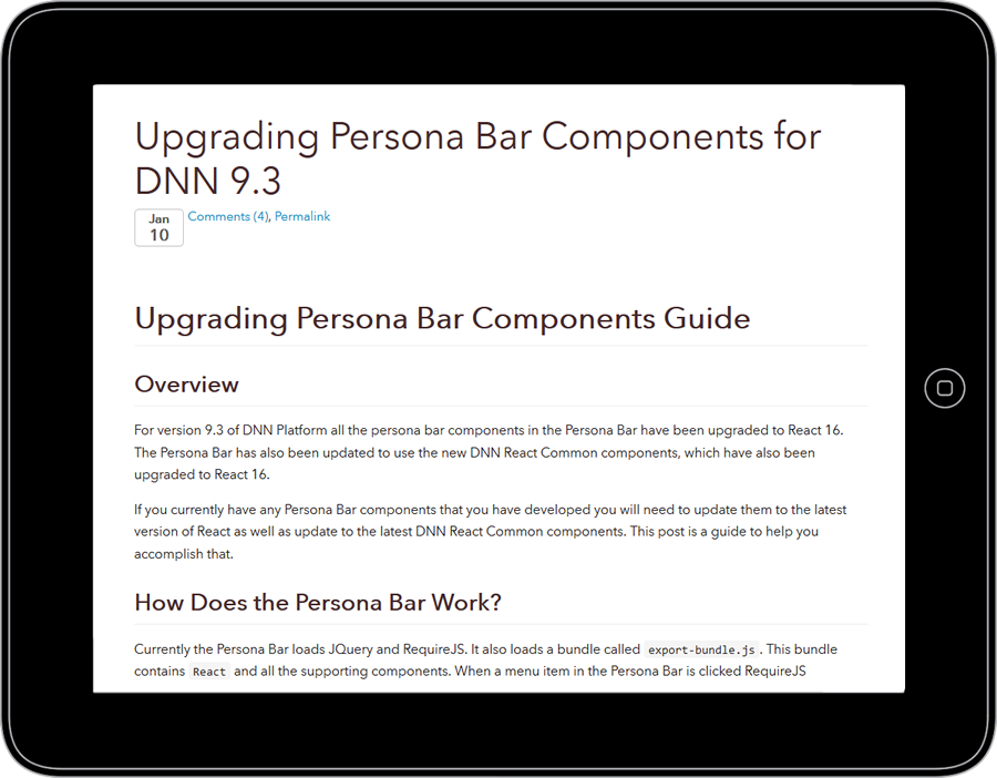 Screenshot of Matt Rutledge's blog on Upgrading Persona Bar Components