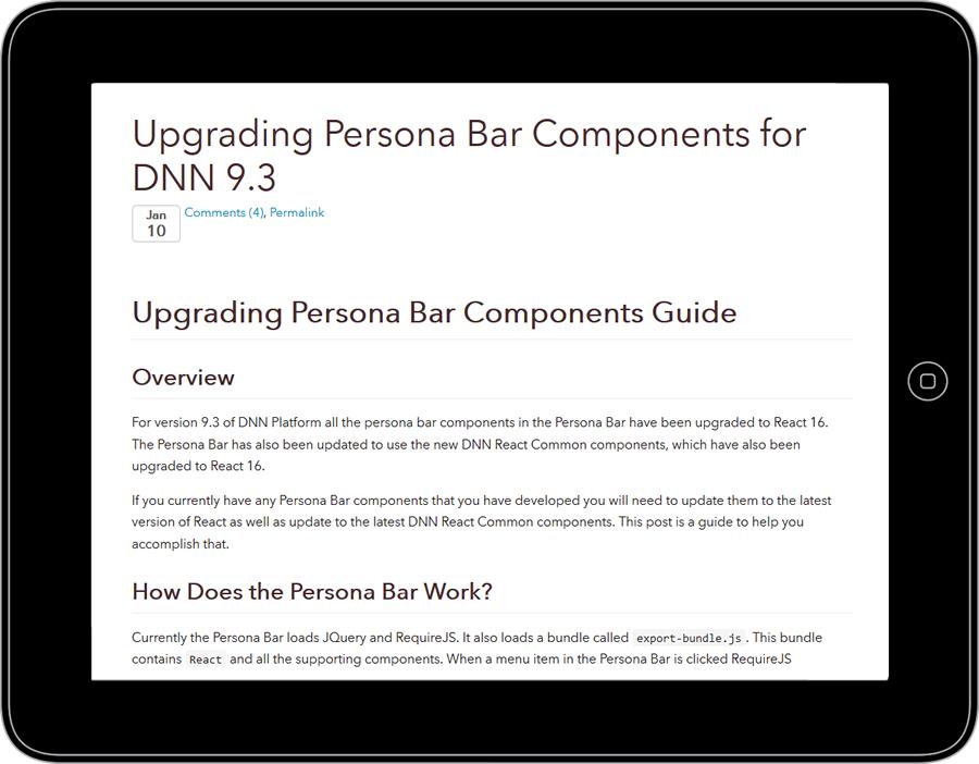 Screenshot of Matt Rutledge's blog on Upgrading Persona Bar Components