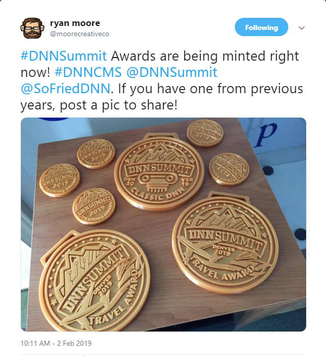 Ryan Moore shared a pic of the DNN Summit Awards he has been working on