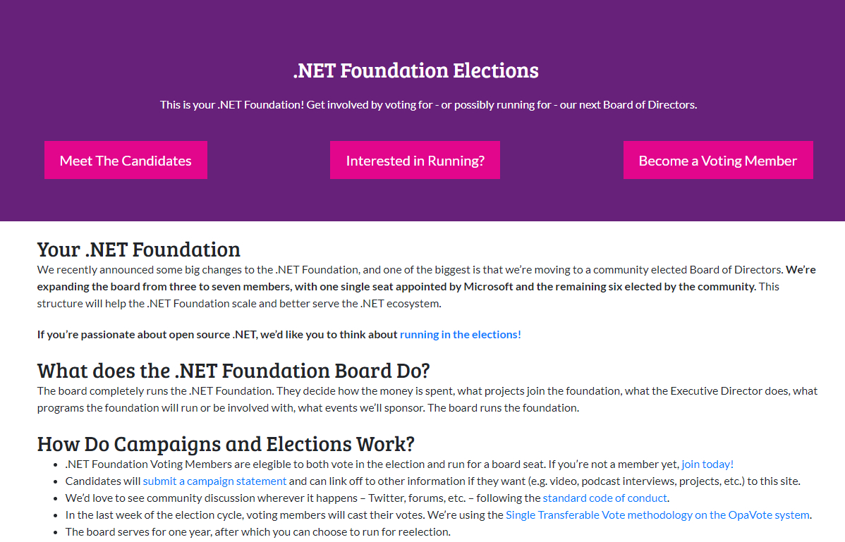 .NET Foundation BOD Elections screenshot