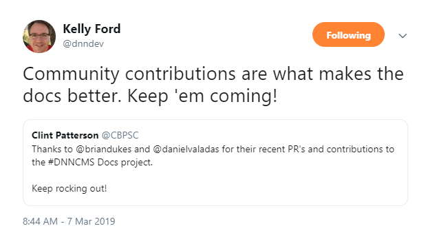 Kelly Ford tweeted about DNN Docs.