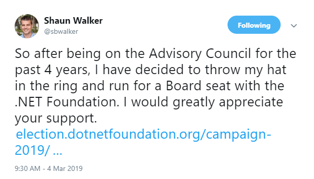 Shaun Walker tweeted about his campaign for the .NET Foundation Board of Directors