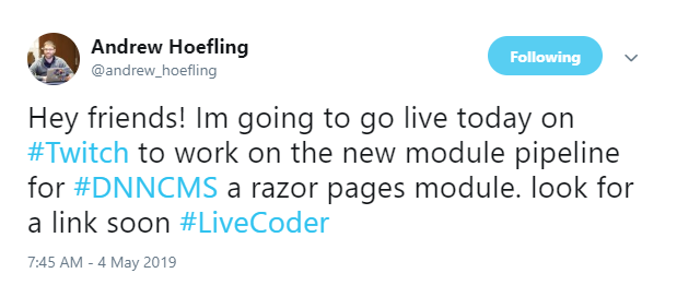 Andrew Hoefling tweeted about his live coding Twitch stream where he worked on a new Razor pages module pipeline for DNN.