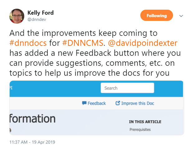 Kelly Ford tweeted about David Poindexter's latest DNN Docs Contribution.