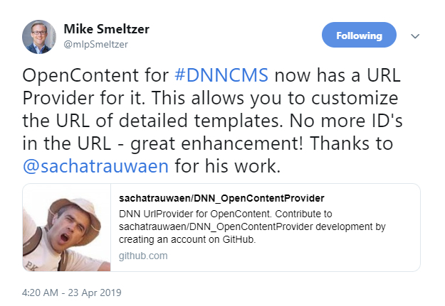 Mike Smeltzer tweeted about the new URL Provider in Sacha Trauwaen's Open Content