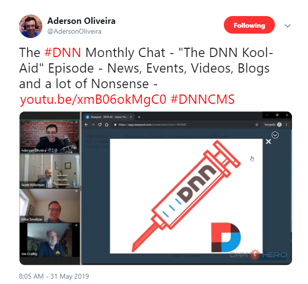 Aderson Oliveira tweet about the recent monthly DNN Chat episode.