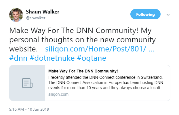 Shaun Walker tweeted his thoughts about the new community website
