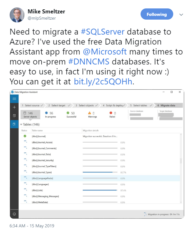 Mike Smeltzer tweeted about migrating SQL Server databases to Azure.