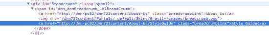DNN Breadcrumb HTML