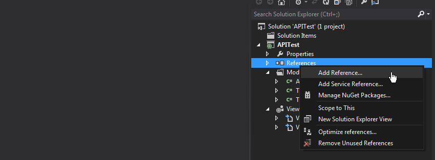Adding a reference in Visual Studio
