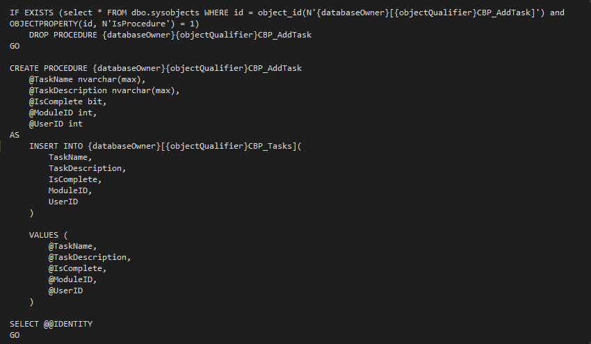 Add task SQL Data Provider File