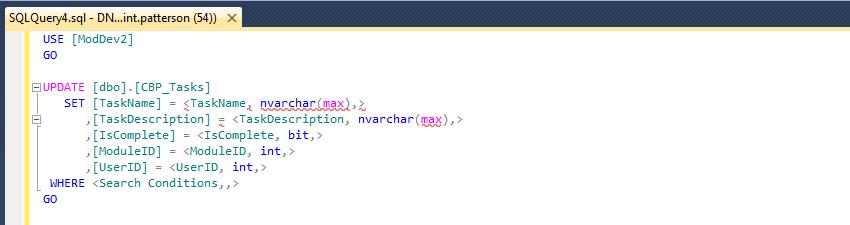 SQL Update Stub Code