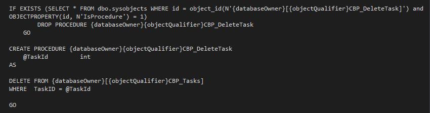 The Delete Task SQLDataProvider Code