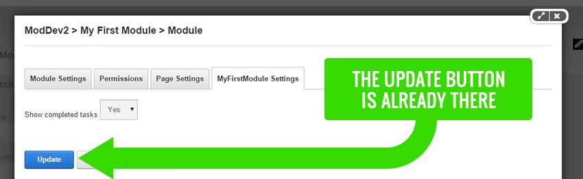 Module Settings Update Button