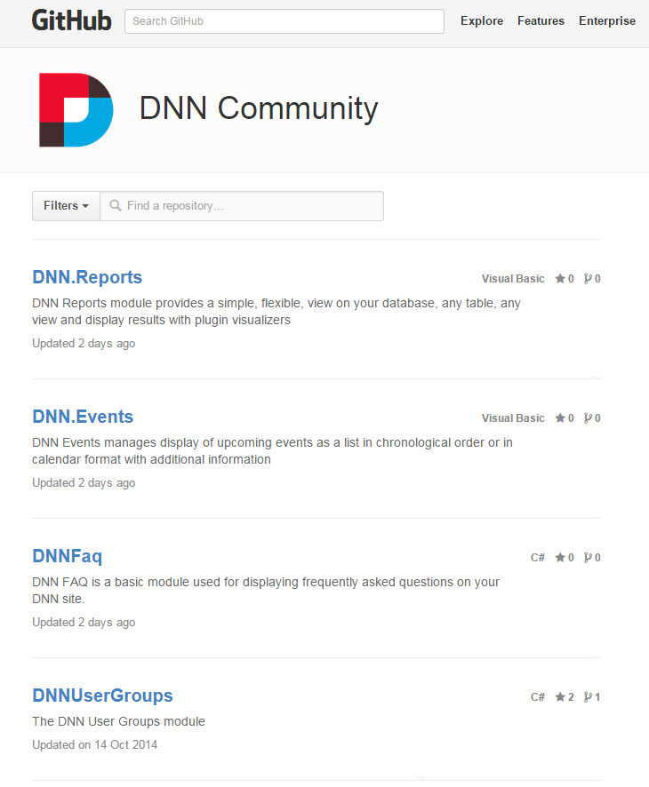 DNN Community page on GitHub