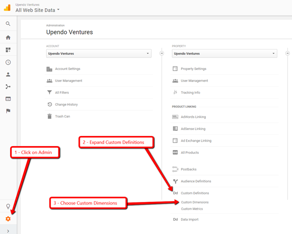 Choosing custom dimensions in Google Analytics