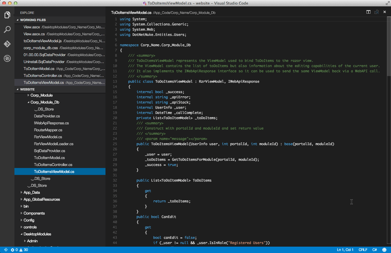 Visual Studio Code with Dnn