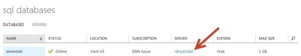 Azure SQL Database Server Name DNN Installation