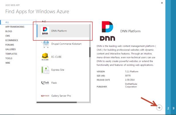 DNN Azure Website App Gallery DotNetNuke