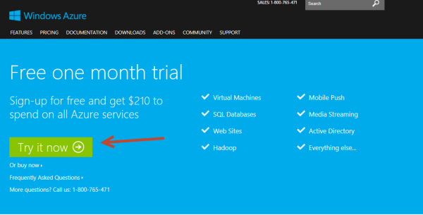 new Windows Azure Subscription Trial