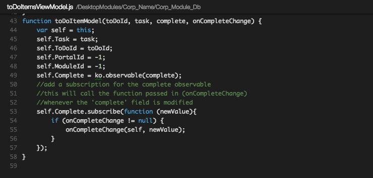 toDoItemModel in Knockout code