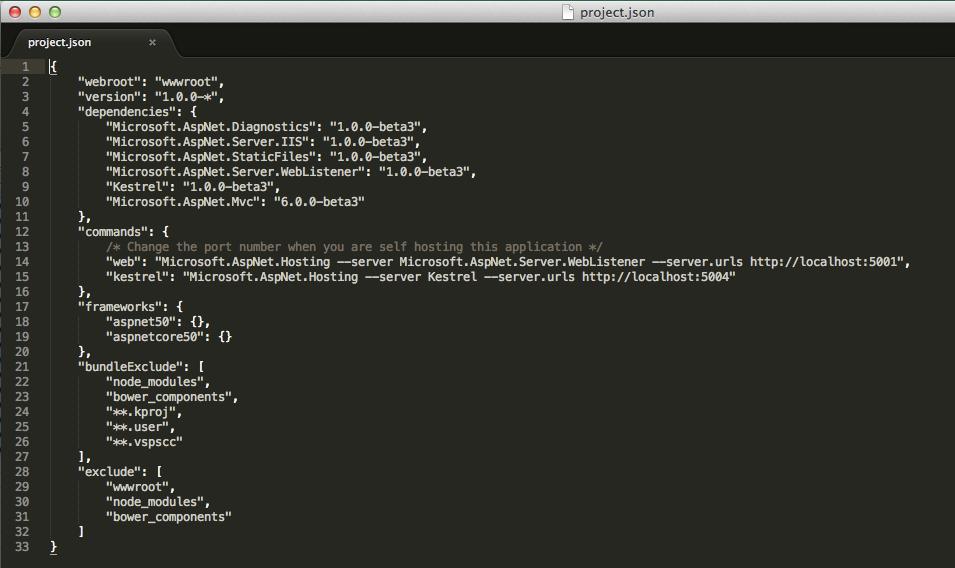 asp.net 5 project.json file