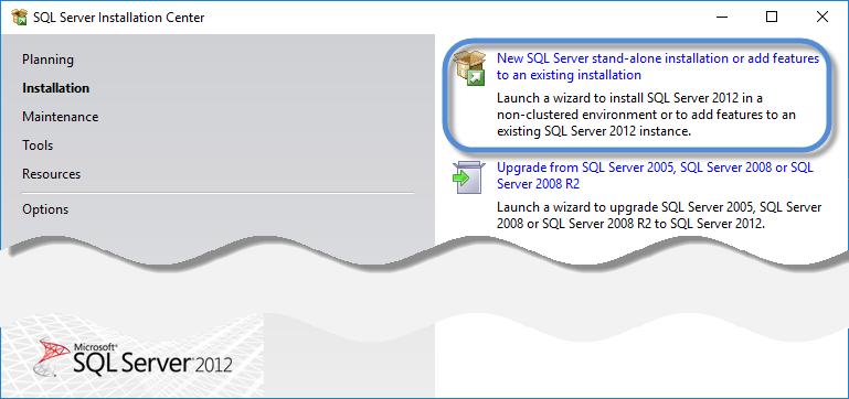 New SQL Server stand-alone installation