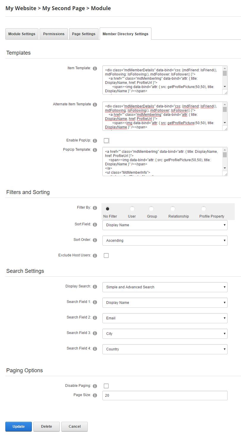 configure the member directory module