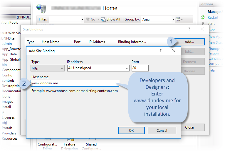 Creating new site in iis